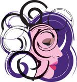 Beautiful Woman face illustration. Abstract Illustration of woman face made in adobe illustrator Stock Images