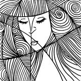 Beautiful woman face illustration Royalty Free Stock Image