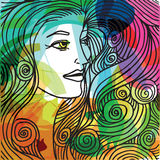 Beautiful woman face illustration Royalty Free Stock Photography