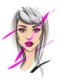Beautiful woman face illustration stock photo