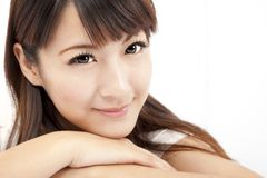 Beautiful woman face isolated Stock Photo