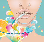 Beautiful woman face, lips with bright cocktail Stock Photo