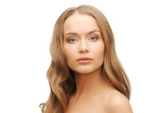 Beautiful woman face with long blond hair Royalty Free Stock Photography