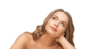 Beautiful woman face with long blond hair Stock Image