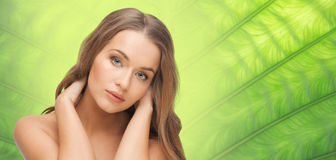 Beautiful woman face with long blond hair Stock Photos