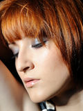 Beautiful woman face with natural make-up Stock Photography