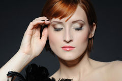 Beautiful woman face with natural make-up Stock Photo