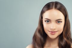 Free Beautiful Woman Face On Blue Banner Background Royalty Free Stock Image - 166459136