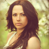 Beautiful woman face - outdoors Royalty Free Stock Photo