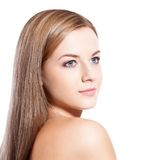 Beautiful woman face over white Stock Images