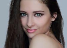 Beautiful woman face with perfect makeup Stock Photography