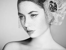 Beautiful woman face. Perfect makeup Stock Photography