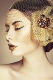 Beautiful woman face. Perfect makeup. Beauty fashion Royalty Free Stock Photography