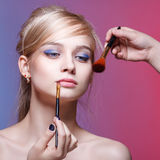 Beautiful woman face. Perfect makeup. Stock Image