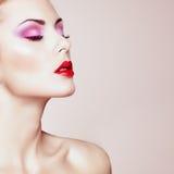 Beautiful woman face. Perfect makeup Royalty Free Stock Image