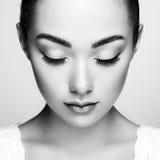 Beautiful woman face. Perfect makeup. Beauty fashion. Eyelashes. Cosmetic Eyeshadow Stock Photos