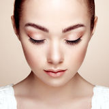 Beautiful woman face. Perfect makeup Stock Images