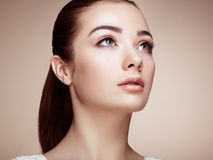 Beautiful woman face. Perfect makeup. Beauty fashion. Eyelashes. Cosmetic Eyeshadow Royalty Free Stock Images