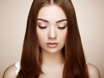 Beautiful woman face. Perfect makeup. Beauty fashion. Eyelashes. Cosmetic Eyeshadow Royalty Free Stock Image