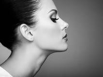 Beautiful woman face. Perfect makeup. Beauty fashion. Eyelashes. Cosmetic Eyeshadow. Black and white Stock Photos