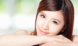 Beautiful woman face with perfect skin Stock Photo