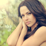 Beautiful woman face with perfect skin. Closeup Royalty Free Stock Photography