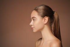 Beautiful woman face portrait close up Stock Photos
