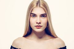 Beautiful woman face portrait young blonde hair Royalty Free Stock Photography