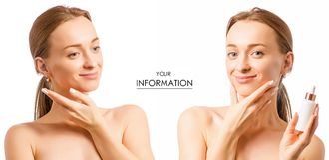 Beautiful woman face serum hyaluronic acid cosmetology cosmetics set pattern. On white background isolation Stock Image