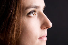 Beautiful woman face side view Stock Photo