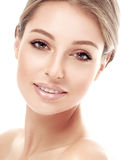 Beautiful woman face studio on white Stock Photography
