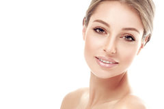 Beautiful woman face studio on white. Beautiful woman face studio isolated on white gentle smile Stock Image