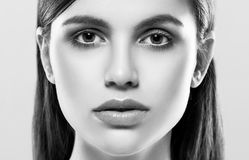 Beautiful woman face studio on white with sexy lips black and white Stock Photos