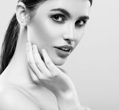 Beautiful woman face studio on white with sexy lips black and white Royalty Free Stock Images