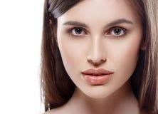 Beautiful woman face studio on white with sexy lips on white Stock Photos