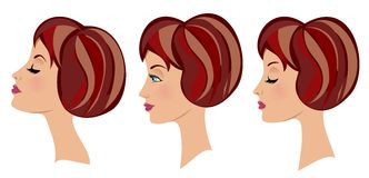 Beautiful Woman Face Three Expressions royalty free illustration