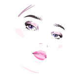 Beautiful woman face. Vector illustration drawing eps 10 Royalty Free Stock Photos