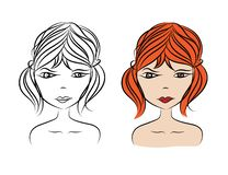 Beautiful woman face vector illustration, girl model, Fashion style, beauty. Graphic, sketch drawing, logo salon. Long hair style icon, spa vector illustration