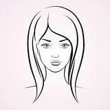 Beautiful woman face. Vector illustration of face young beautiful woman royalty free illustration