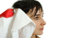 Beautiful woman face in white towel Royalty Free Stock Photo