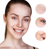 Beautiful woman face with zoom wrinkles Stock Photo