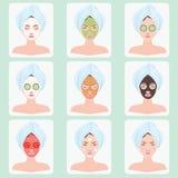 Beautiful woman with facial mask. stock illustration