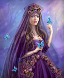 Beautiful woman fairy and blue butterflies Stock Photography
