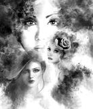 Beautiful Woman fairy face black collage. fashion abstract illustration Royalty Free Stock Photo