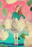 Beautiful woman in fairy garden Stock Photo