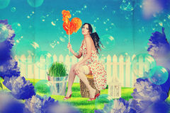 Beautiful woman in fairy garden Royalty Free Stock Image
