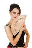Beautiful woman with fan Stock Images