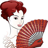 Beautiful woman with a fan Stock Photo