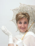 Beautiful woman with fancy umbrella Royalty Free Stock Image