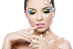 Beautiful woman with a fantastic make-up Stock Photo